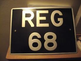 private registration number REG 68 for sale, on retention, ready for transfer