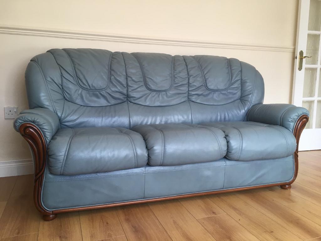 3 seater blue sofa