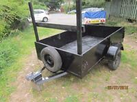 "TRAILER 6'6""(2 METRES) X 4' X 16"" + LADDER RACK + SPARE WHEEL + NEW LIGHT BOARD +DROP DOWN TAILGATE"
