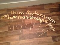 Wedding decorations- laser cut gold wooden table numbers