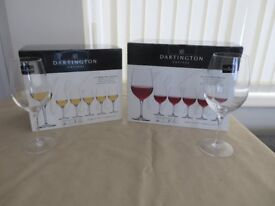 Two sets of Dartington Crystal Wine Glasses--6 White wine & 6 Red Wine--New and Boxed