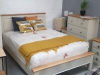 Cream/Oak Bed + 5ft Mattress
