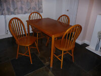 Lovely pine table with 4 matching chairs