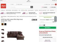 Brand New Chocolate Leather Corner Sofa