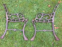 Cast Iron Ornate Bench Ends (small crack)
