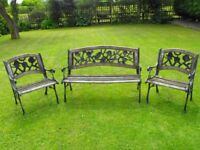Very Heavy Duty 3 piece CAST IRON & WOOD PARK Style BENCH & 2 Matching CHAIR'S