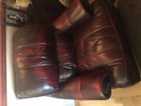 2 x Oxblood comfy armchairs