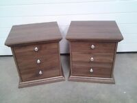 Ex display PAIR dark wood colour bedside cabinets. 3 drawers each. Less 1/2 shop price, can deliver.