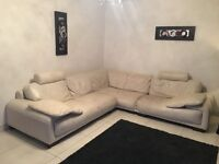 Cream Leather Corner Sofa with 2 matching headrests and 2 matching cushions