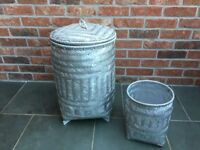 Silver Laundry Basket and bin