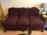 Antique, 19th century, 3 piece suite (Bergere style), 3 seater settee & 2 chairs
