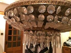 French mirrored and crystal glass chandelier