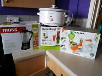 6in1 soup maker. Salter spiralizer. Crock pot / slow cooker. Breville Blend Active Smoothie maker.
