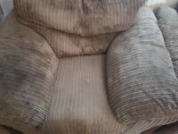 DFS brown fabric arm chair