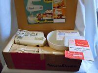 Retro 1965 Moulinex Minor hand mixer - timewarp condition - complete in box