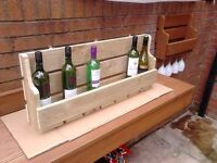 ****NEW 10 BOTTLE/6 GLASS WINE RACK**** RUSTIC,WALLMOUNT,QUALITY HAND MADE!!!