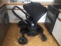Icandy peach 3 jet 2 black single pushchair with converters and elevators