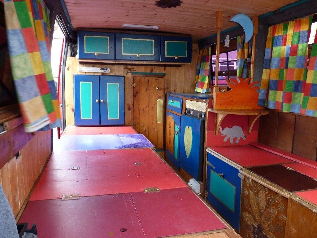 Camper Van Interior Self Build Cabinets Fridge Hob