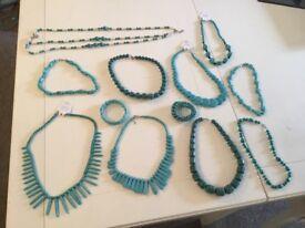 12 Piece Costume Jewellery Set Turqoise/ Blue