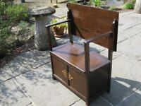 OAK MONKS BENCH / SETTLE. PEW WITH STORAGE. Delivery possible. ALSO CHURCH PEWS & CHAIRS, TABLE