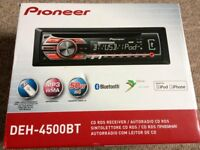 Pioneer DEH-4500BT RDS Tuner with Illuminated Front USB and Aux-In