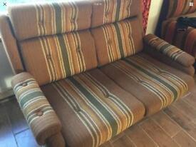 Mid Century Orange Brown Stripe Teak 2 Seater Sofa