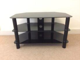 Black glass tv corner unit table with shelf