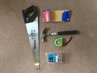 Wickes Tools (hand saw, hammer, measuring tape, sand paper, couple nails)