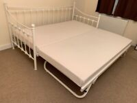 Delivery single double metal day bed creemmdaybedd folding guest pull out trundle & mattress daybed