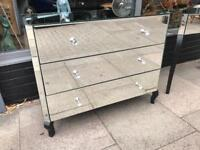Mirrored Chest Of Drawers With Crystal Handles