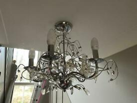 2 x Chrome and glass Chandeliers