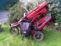 Phil & Teds red E3 double pushchair