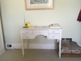 Bedroom table white painted, rare pitch pine construction