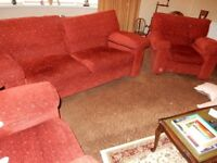Cherry Red sofa and two chairs - very good condition - Fire safe certificate