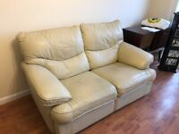 Beige Recliner leather sofas £50 each or 2 for £90 reasonable condition