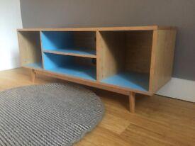 Scandi Bamboo TV unit with blue interior