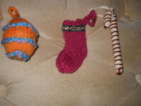 New 3 New Hand Knitted Christmas Decorations
