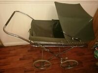 Vintage Silver Cross Pram Racing Green