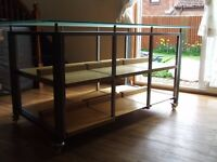 DISPLAY CABINET (FRENCH CONNECTION) ROBUST SHOP SHELVING UNIT ON WHEELS