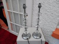 2 x modern chrome/glass effect side lamps