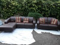 FREE DELIVERY! DFS brown leather corner suite