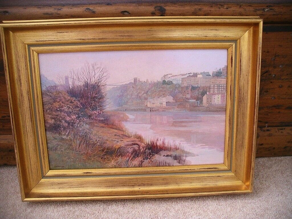 Orig painting artist Erika Lee Boyce's Ave gallery acrylic Clifton Suspension Bridge gilded frame