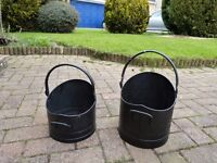 4 piece brushed metal fireside companion set AND 2x black coal buckets