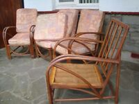 VINTAGE RETRO LOOKS VERY OLD LUSTYCRAFT SIMILER TO ERCOL 2 CHAIRS AND SOFA SOFA COMES APART