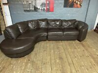 REAL LEATHER CURVE CORNER SOFA IN EXCELLENT CONDITION DELIVER