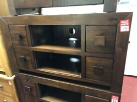 dark wood 4 drwr TV unit