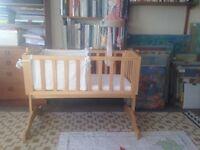 Saplings Bethany Swinging Crib, mattress, linen, cot bumper and blanket, like new!
