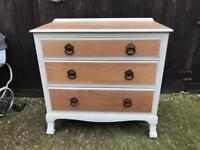 Beautiful cream painted vintage oak chest of drawers