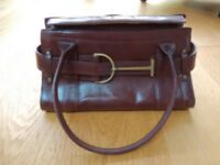 Handbag, Karen Millen, brown leather with bronzed buckle detail