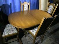 Oak extending dining table and chairs FREE DELIVERY PLYMOUTH AREA